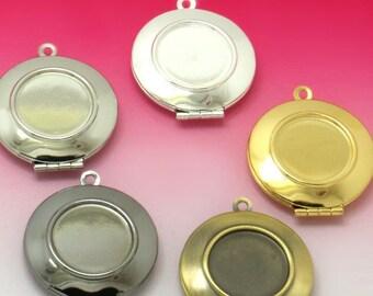 10 Lockets- Brass Bronze/ Silver/ Gold/ White Gold/ Gun-Black Plated 27mm Round Loacket W/ 16.5mm Round Bezel Setting Photo Pendant Base