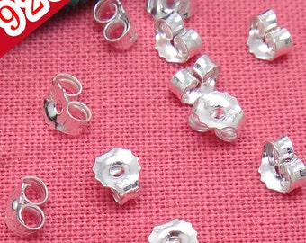 20PCS 925 Sterling Silver Ear Nuts Earring Back Stoppers Wholesale- D603030