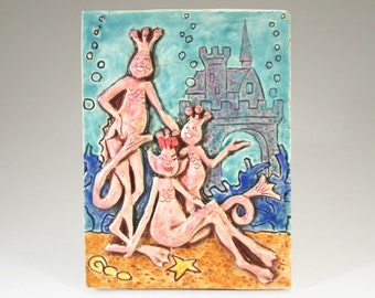 SEA MONKEYS Ceramic Art Tile, 4 x 6 Handmade Tile, Wall Art
