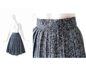 1950s Skirt • 50s Full Skirt • Black and Blue • XS Small S