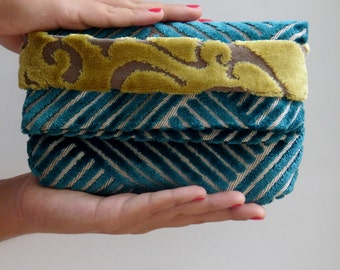 ladies clutch velour Foldover Clutch velvet mini bag  Geometric pattern  Clutch Bag gift ideas for her velvet clutch