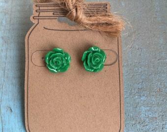 Kelly green rose earrings