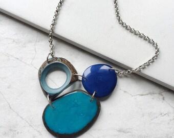Light weight neckalce. Tagua nut jewelry. Blue Necklace. Turquoise Necklace. Sky blue Necklace. Navy cobalt necklace. Sela Designs.