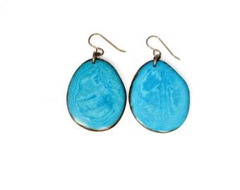 LARGE Turquoise earrings. Tagua nut Earrings. Blue Earrings. Teal Earrings. Jade Earrings. Tagua nut Jewelry. Eco Friendly Jewelry. Sela