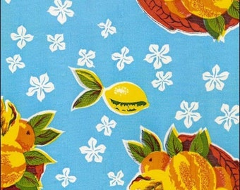 """68"""" Round Oilcloth Tablecloth Pineapple Light Blue"""