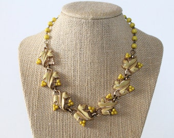 Vintage 1950s/1960s Yellow Enamel Leaf Choker Necklace