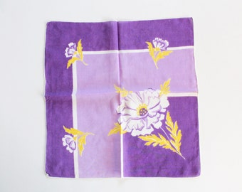 Vintage 1950s Purple and Yellow Floral Handkerchief