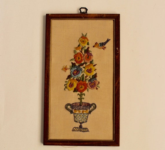 1960s Floral Embroidery Framed Wall Art TopiaryTree