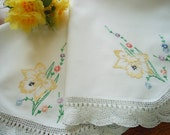 Vintage Hand Embroidered Table Topper Small Tablecloth Yellow Daffodils