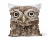 Baby Owl Decorative Throw Pillow Case with optional Insert - Home Decor, Photography Pillow/ Nature/ Wild/ Cute baby Owl Pillow