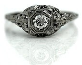 Solitaire Engagement Ring  Antique Filigree  Ring .25ctw 14k White Gold Unique Engagement Ring Vintage Solitaire Ring Size 6.5!