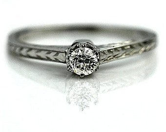 Antique Engagement Ring Art Deco Promise Ring .20ctw Diamond Ring 18k White Gold Solitaire Ring Dainty Ring Estate Ring Size 6!