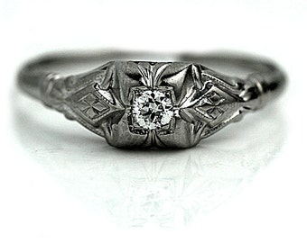 Art Deco Engagement Ring .20ctw Antique Diamond Ring Vintage Dainty 18k White Gold Ring 1930s Solitaire Tiny Promise Ring!