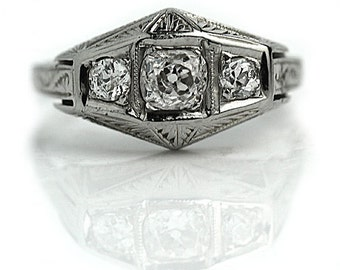 Antique Three Stone Engagement Ring .65ctw Antique Mine Cut Diamond Ring 1920s 18K Ring Art Deco Unique Ring Filigree Ring Size 7!