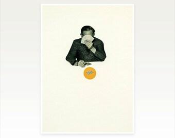 Pop Art Poster, Male Portrait Art, Collage Print, Orange and Black Decor - Poker Face