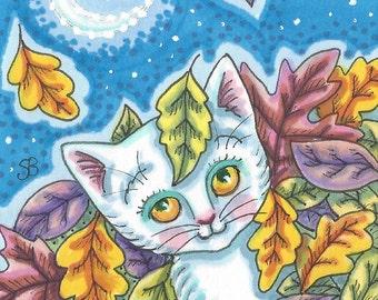 White Kitten Cat Pile Of Autumn Leaves Art ACEO Susan Brack Ebsq