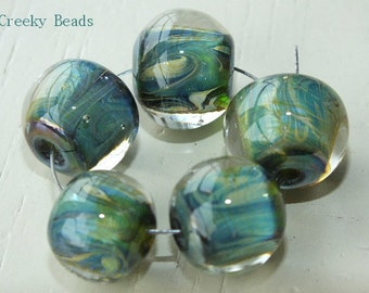 Handmade Lampwork Beads - Greens with Swirl! - Creeky Beads - SRA