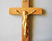 Vintage Crucifix Cross Wood With Gold Jesus  Small Wood Cross