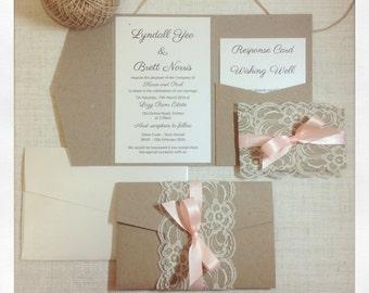 Wedding invitation Rustic Lace Peach Pocketfold wedding invitation sample