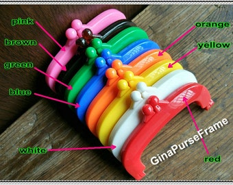 8pieces - 10cm (4 inch) candy color Plastic purse frame, Jelly clip, Kiss lock frame, rectangle bag frame, purse frame (8colors)