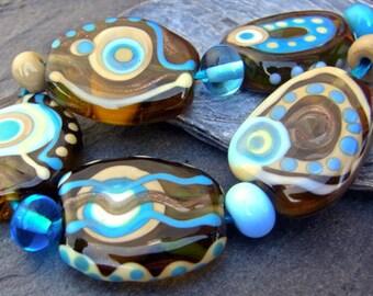 Golden Shimmer - Handmade Lampwork Bead Set (11) by Anne Schelling, SRA