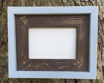 4 x 6 Brown and Light Blue, Weathered, Stacked and Painted Frame, Rustic Wood Frames, Rustic Decor, Rustic Frames, Home Decor, Wooden Frames