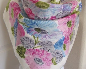 "Jacques Fath Paris // White Pink Floral Ladies Silk Scarf  // 31"" Inch 78cm Square // Best of the Best"