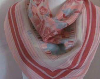 "Anne Klein // Beautiful Pink Silk Scarf // 26"" Inch 66cm Square"