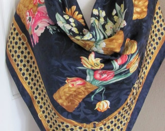 """WOW!! Made in Italy // Colorful Dark Blue Floral Jacquard Soft Silk Scarf // 34"""" Inch Square // Best of the Best"""