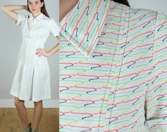 Vintage 1970s White Multi Stripe Pleated Dress