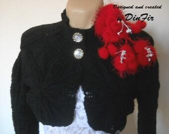 LIQUIDATION Stock SALE 30% OFF / Hand Knitted Bolero Wedding Accessories Shrug Women Jacket Feminine Romantic Cardigan Elegant Vest Capelet