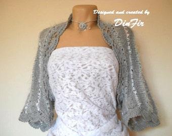 LIQUIDATION Stock SALE 30% OFF / Oversized Cardigan Wedding Accessories Shrug Bolero 3/4 Sleeves Romantic Elegant Crochet Women Hand Knitted
