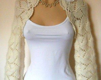 SALE Bridal SHRUG BOLERO / Wedding Accessories Hand Knitted Bridesmaid Chic Cape / Women Angora Jacket Cardigan Crochet Capelet Gift Ideas