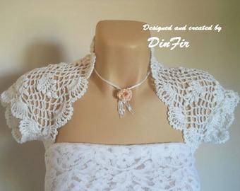 LIQUIDATION Stock SALE 30% OFF / Shrug Bolero Wedding Bridal Accessories Cardigan Summer Crochet Elegant Jacket Women Hand Knitted Capelet