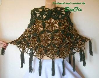 LIQUIDATION Stock SALE 30% OFF / Crochet Poncho Wedding Accessories Cape Handmade Feminine Women Hand Knitted Shrug Bolero Romantic Capelet