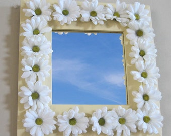 Square Wall Mirror 12.5 x 12.5 Hand Painted Sunshine Yellow with White Fluffy Silk Daisies Handmade by OlliesFineThings