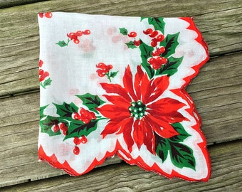 Vintage Christmas Handkerchief Christmas Hankie  Red Poinsettia Christmas Hanky Festive Holiday Hankie Handkerchief