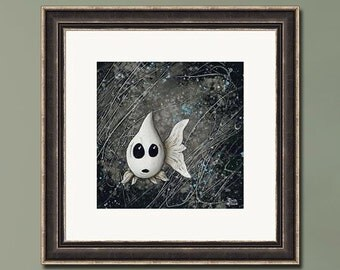 PRINT or GICLEE Reproduction -- Funny White Fish Art, Black Background, Figurative Abstract  -- Casper