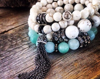 Mint green stone stretch bling bracelet stacker layering gypsy glam luxe beach chic jewelry cowgirl rustic gifts under 35 gift shabby chic