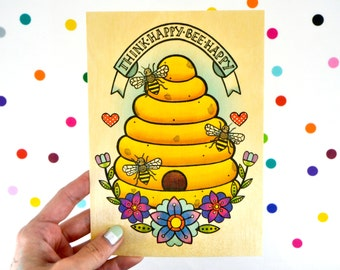 think happy - bee happy / high quality art print on wooden paper / woodland beehive honeybee retro kitsch home decor