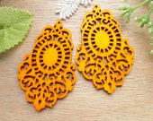 4 Pcs / WP45 / # 2 Orange / Moroccan Style Filigree Wood Findings For Earring/Laser Cut Lace Charm / Pendant /  Colorful wooden earrings