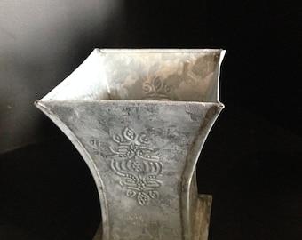 vintage Metal pen holder vase