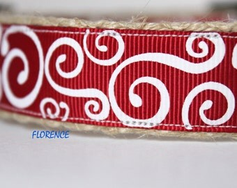 Cranberry Dog Collar, Festive Dog Collar, Stripe Dog Collar, Holiday Dog Collar
