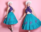 DEADSTOCK 1950's Inspired Rich Turquoise Cotton Circle Skirt w/ Corset Style Waistband & Purple Horses / Ponies Appliques Hem - Pockets - M