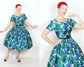 GORGEOUS 1950s New Look Designer Painted Jewel-Tone Floral Polished Cotton Fit n Flare Party Cocktail Dress by Suzy Perette New York - M