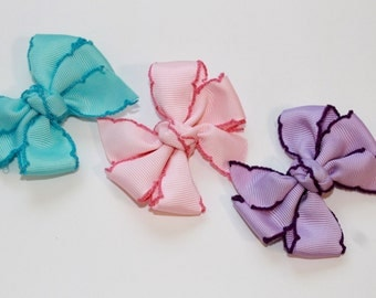 Saddle Stitch Pinwheel Hair Bows for baby and girls
