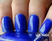 """Nail polish - """"Brick is dead""""  neon blue jelly with flakies"""