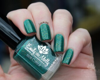 "Nail polish - ""Gilded Grove"" multichrome flakies in a green base"
