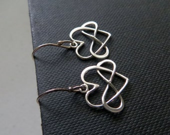 Infinity heart earrings, infinity earring, light weight, sterling silver, gold or rose gold
