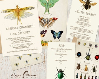 Wedding Invitation Suite: (Insects, Butterflies, Bees, Bugs) Entomology DIGITAL